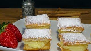 Receta Pastelitos de hojaldre con crema (Miguelitos) - Recetas de cocina, paso a paso, tutorial
