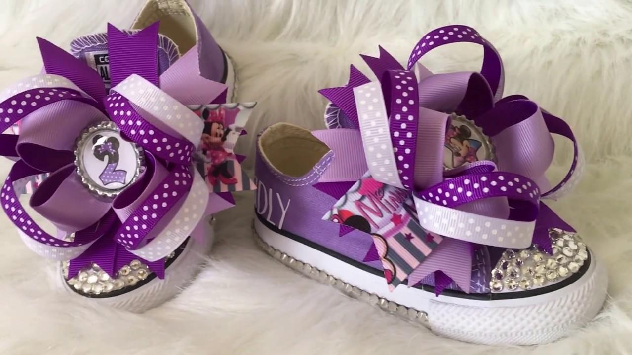 ba3126bebf88 Disney Minnie Mouse Bling Converse - Boutique Style Hairbows - Bottlecaps  Flatback
