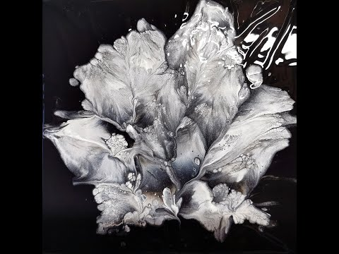 (152) Black and white... and silver / Flower dip / Acrylic pouring technique