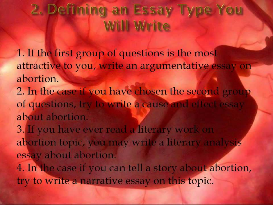 writing a persuasive essay on abortion A persuasive essay, also known as an argumentative essay, is a piece of academic writing where you use logic and reason to show that your point of view is more legitimate than any other you must expose clear arguments and support them by convincing facts and logical reasons.