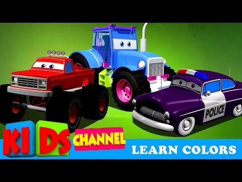 Learn Colors With Cars and Trucks   Street Vehicles In Cargo   Cars Colors Videos For Kids