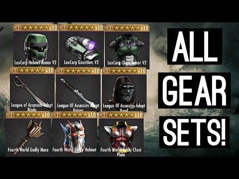 Injustice: Gods Among Us ALL GEAR SETS - LexCorp Set, League of Assassins Set, Fourth World Set