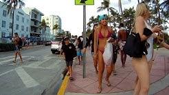 South Beach Ocean Drive Lummus Park, HD Action Camera on Bike Rental, Miami Beach, Florida