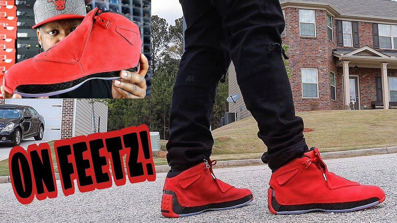 3d9c204226b JORDAN 18 TORO BRAVO/RED SUEDE ON FEET REVIEW - YouTube