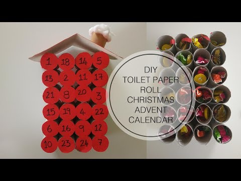 DIY Chistmas Advent Calendar made from empty toilet paper rolls
