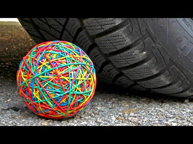 Crushing Crunchy & Soft Things by Car! EXPERIMENT CAR VS RUBBER BAND BALL