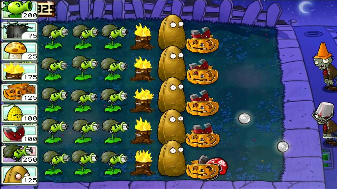 Lemon挽植物大戰僵尸 ⭐️ Plants vs Zombies ⭐️ Survival Night Army Gatling Pea and Tall-nut pvz