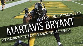 Martavis bryant highlights vs vikings // 3 catches, 91 yards, 1 td // 9.17.17