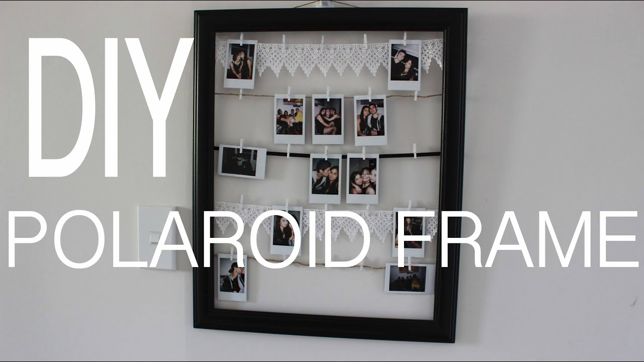 Diy polaroid frame youtube for Picture frame with clips diy