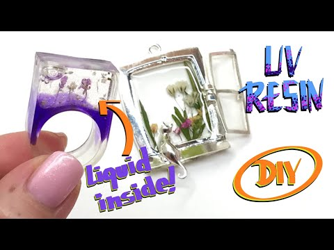 Dried flowers and UV Resin- Hollow ring with liquid inside-DIY- Tutorial
