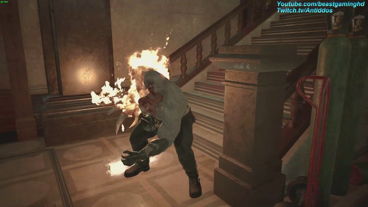 Re2 Remake First Person W Super Tyrant In Rpd Moving Like Superman Mr X Swapped W Super Tyrant
