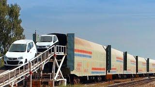 CAR carrier UNLOADING : Indian Railways  AUTO Deck
