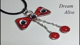 Resin Art Jewelry 레진아트 액세서리 - 귀여운 빨간 리본 목걸이 Cute Red Ribbon necklace