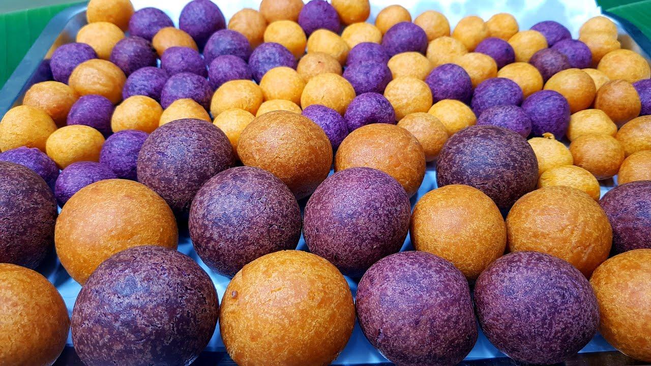 949 ขนมไข่ไดโนเสาร์ ขนมไข่นกกระทา ชีสยืด Deep Fried Sweet Potato Balls