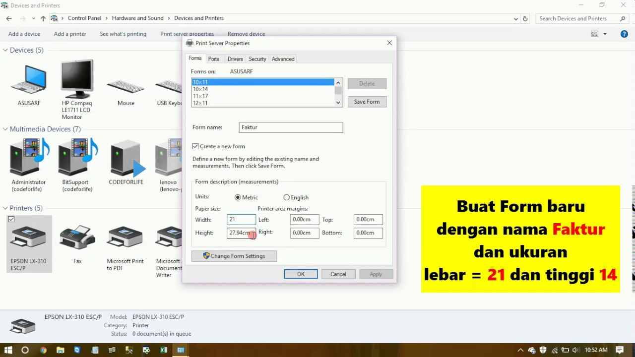 Tutorial Setting Printer Epson Lx 310 Untuk Format Kertas Faktur Continuous Form Youtube
