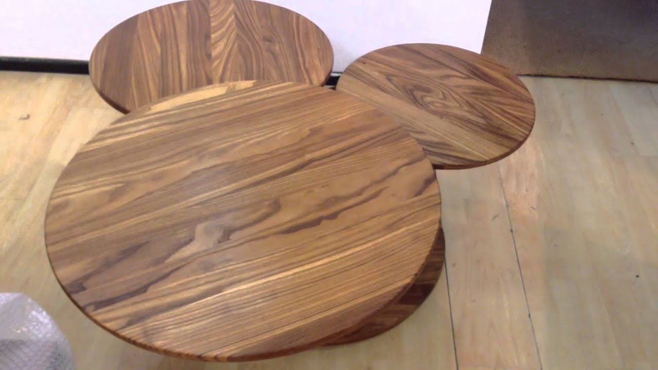 Tavolino olmo rotondo apribile a tre Vintage - YouTube