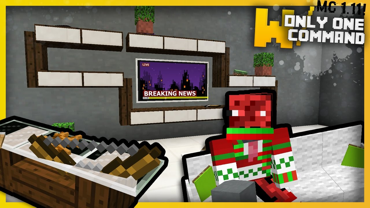 Minecraft MODERN LIVING ROOM FURNITURE With Only One Command Block Tvs CouchesTables More