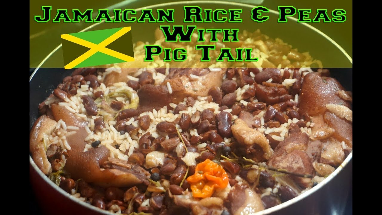 world's best authentic jamaican rice  peas with pig tail