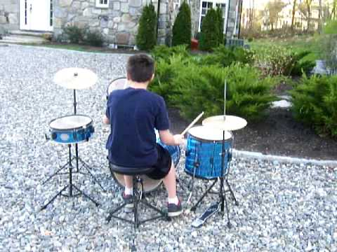 Kids Buy A Drum Kit For 10 At Yard SaleAccompanied By Friend With Wiffle Ball Bat