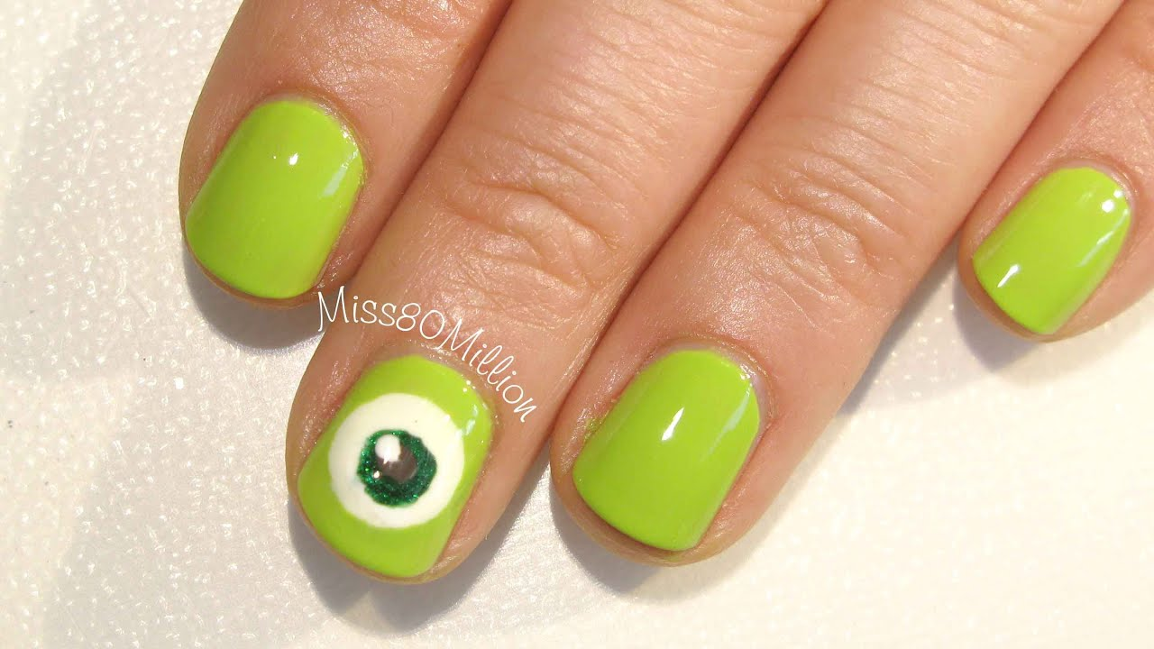 Mike Wazowski , Monsters Inc Inspired Free Hand Nail Art
