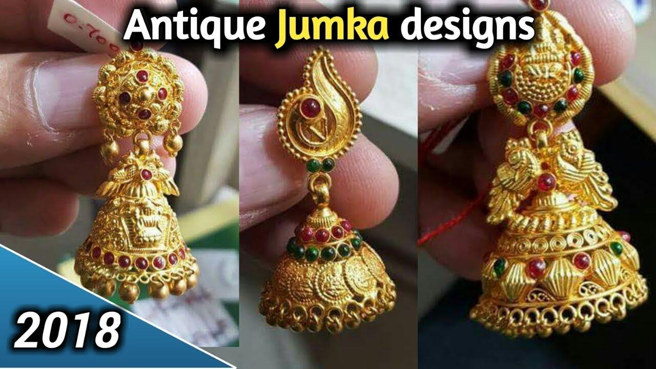 Antique Jumkas Designs Gold Earrings Old Model