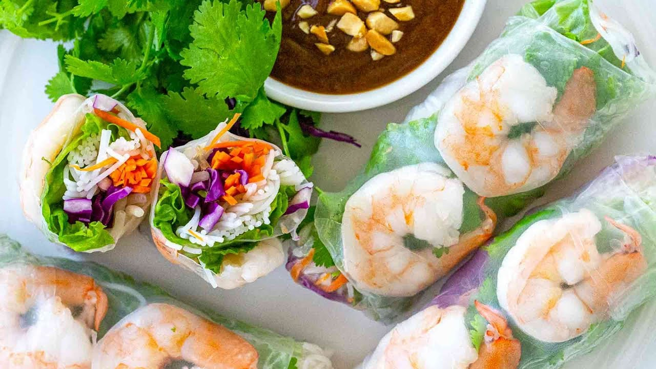 Shrimp Spring Rolls With Peanut Dipping Sauce Youtube