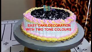 Easy Decoration Cake With Two Tone Colour Icing