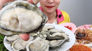 หอยนางรมตัวใหญ่ เต็มปากเต็มคำ ยอดกระถินหวานๆน้ำพริกเผาเข้ากันได้ดี 3/7/2020