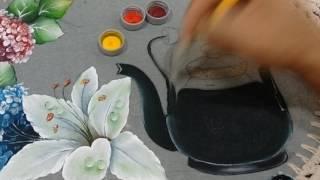 Pintura Chaleira de Ferro em tecido emborrachado Parte 3