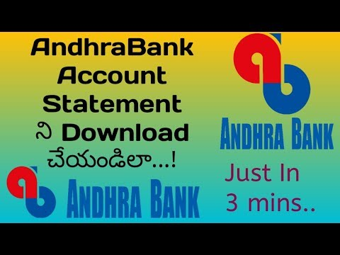 How To Download Andhrabank Statement Online In Telugu || Andhrabank In Telugu