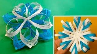 Comment faire un flocons de neige papier en deux couleurs 3D | Fait à la main | Fais le toi-même thumbnail