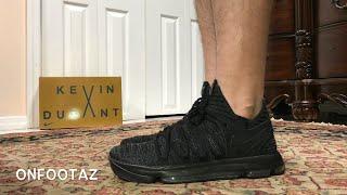 Nike KD 10 X Triple Black On Foot - YouTube