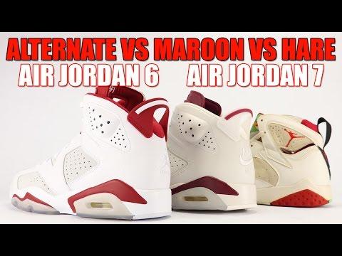 c3c31787a70 Alternate Air Jordan 6 vs Maroon Air Jordan 6 vs Hare Air Jordan 7  Comparison - YouTube