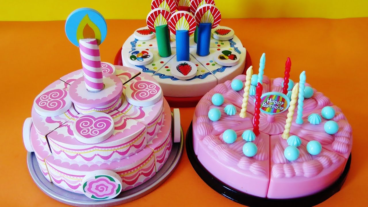 Toy velcro cutting birthday cakes strawberry cream cheesecake