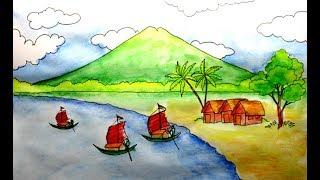 cara menggambar pemandangan pantai  dan nelayan - cepat