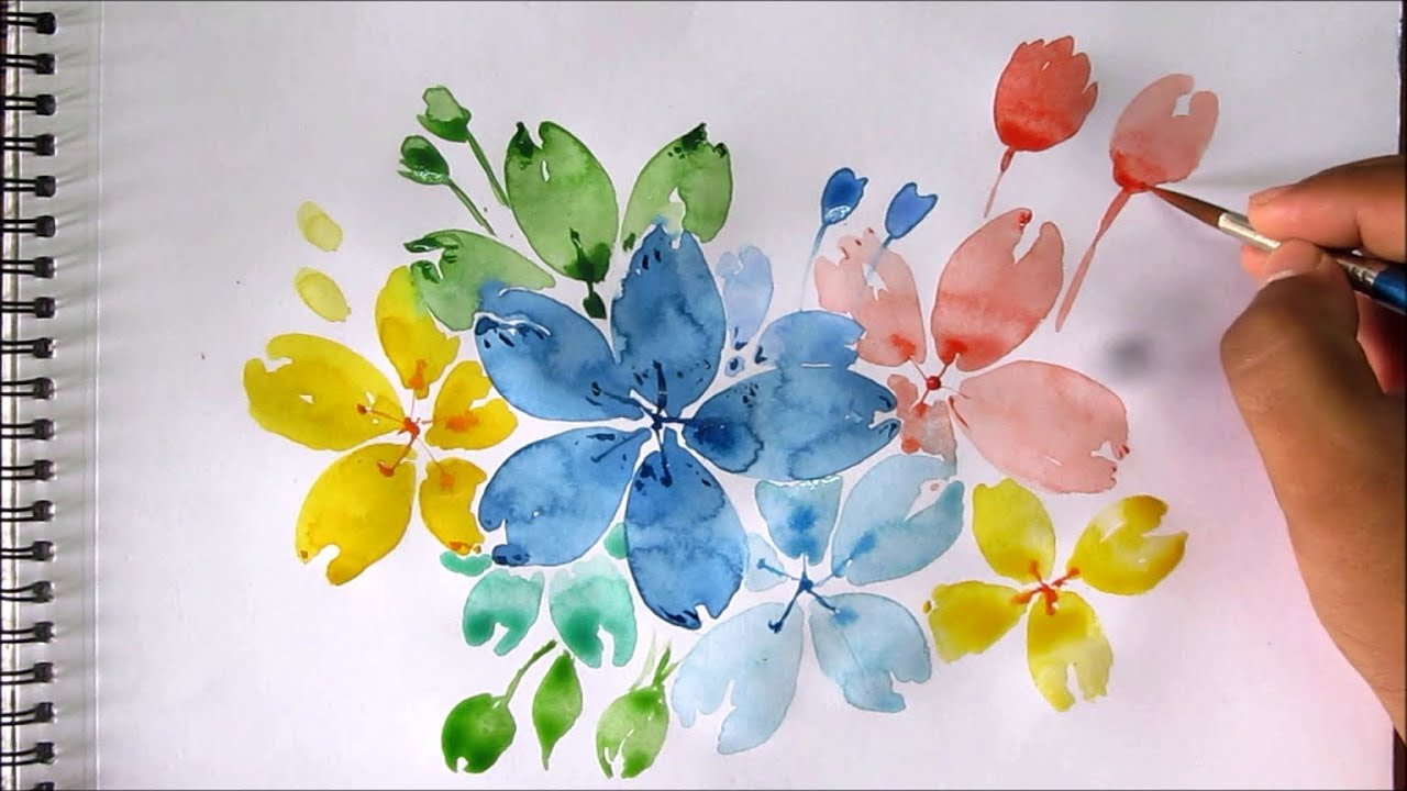 Easy flower painting with watercolor, watercolor painting ...