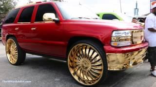 WhipAddict: Kandy Red 05' Chevrolet Tahoe On Gold Amani Forged Nino 30s, Custom Interior