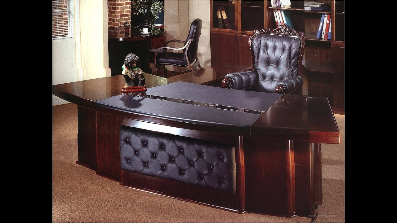 Sauder edge water executive desk in estate black youtube Grand home furniture dubai