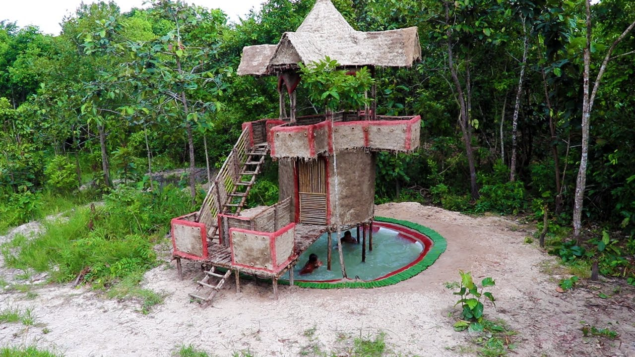 Build Beautiful Two Story Mud House And Build Swimming Pool Under House (full video)
