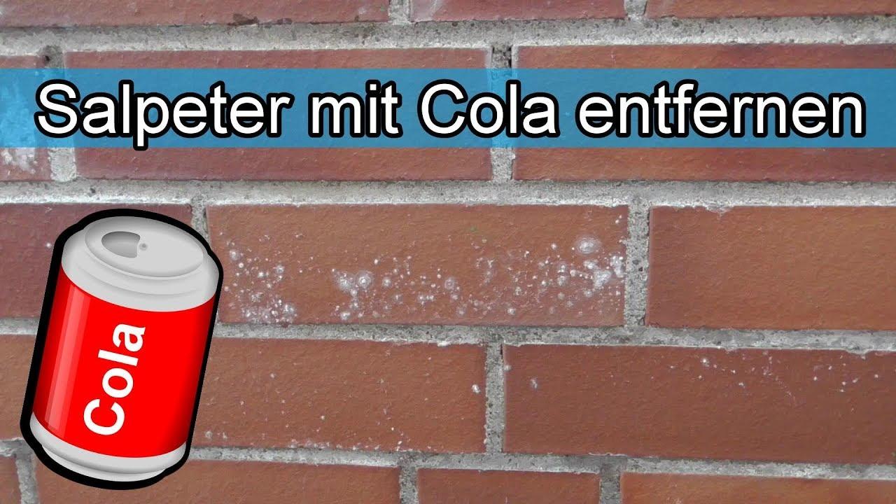 Hervorragend Salpeter mit Cola / Hausmittel entfernen – Ausblühungen im Stein DD19