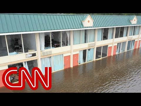 Drone video shows severe flooding in North Carolina (No audio)