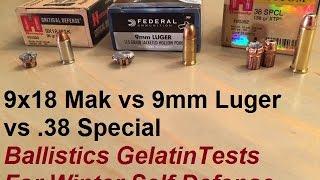 9x18 Makarov vs 9x19 Luger vs  38 Special Ballistics Gelatin Tests for Winter Self Defense