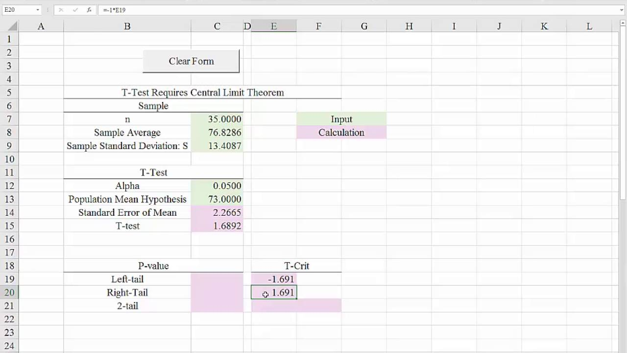 Excel 2016 Template For Hypothesis Tests (t-tests) For The