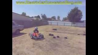 EV Kart Drifting & doing donuts & hooning, stirring up dust and a dog