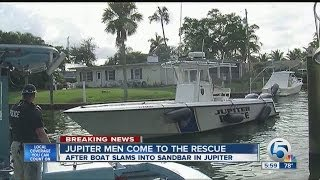 Boat slams into Jupiter sandbar
