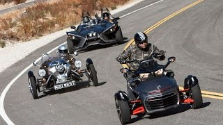 Is This A Motorcycle Shootout? Polaris Slingshot vs. Can-Am Spyder F3 vs. Morgan 3 Wheeler