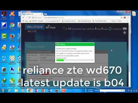 reliance zte wd670 update