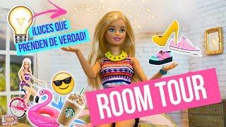 ROOM TOUR del NUEVO cuarto de Barbie y RUTINA de VERANO - Cuarto con luces que prenden de verdad!