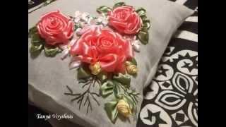 Вышивка Лентами на Подушке / Цветы