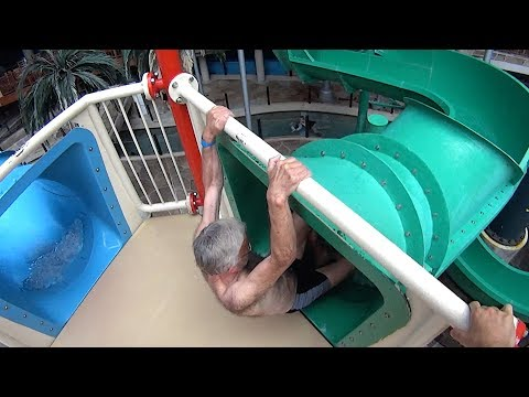 Don't be Scared of the Green Water Slide at Aquadome Billund